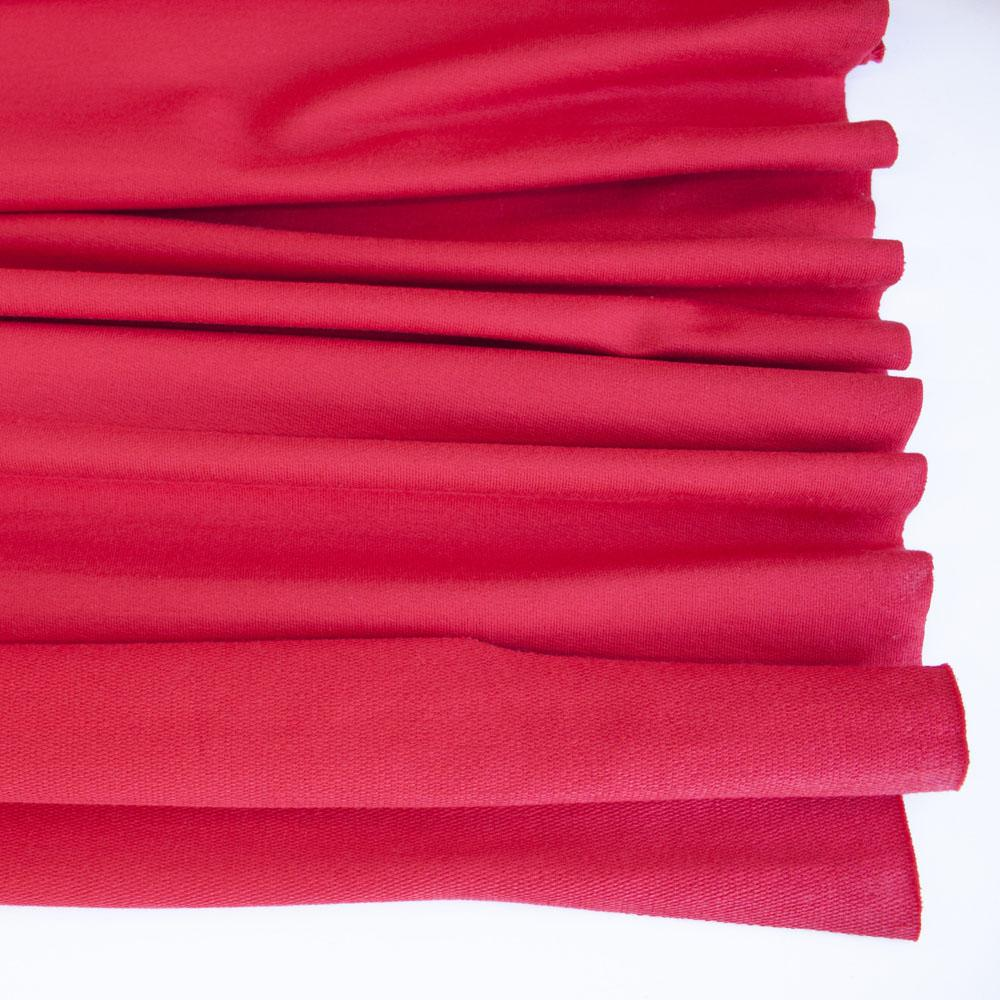Red Premium Plain French Terry Fabric by Various