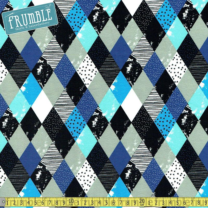 Textured Diamonds Blue French Terry Jersey Fabric by Various