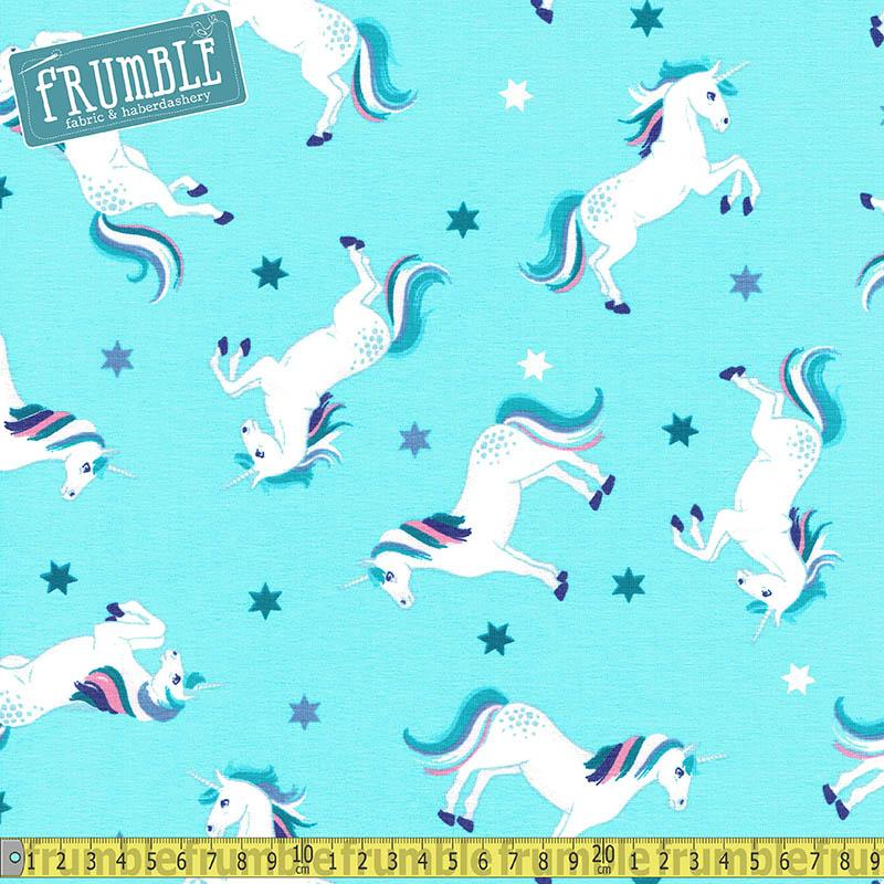 Unicorns Aqua Blue Jersey Print Fabric by Various