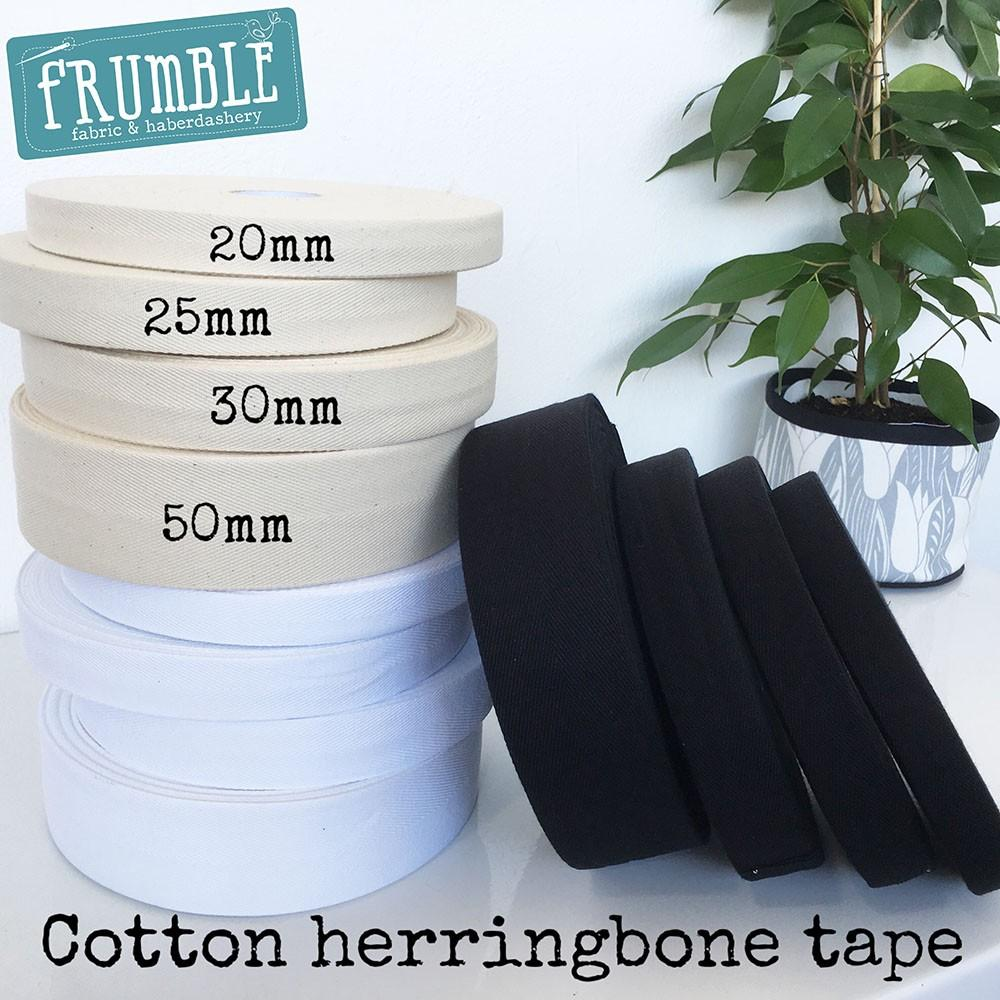 25mm Cotton Herringbone Webbing - Frumble Fabrics