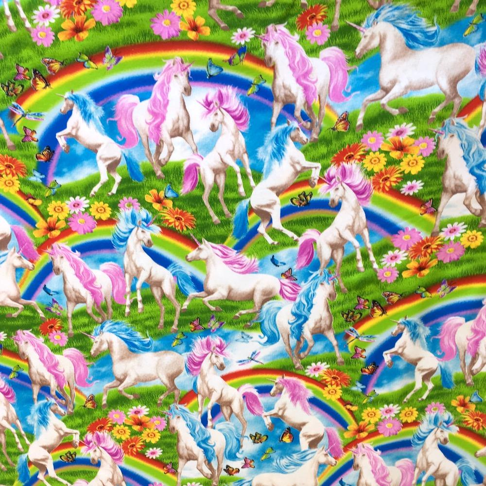 City Knits Scenic Rainbow Unicorns Multi Fabric by Timeless Treasures
