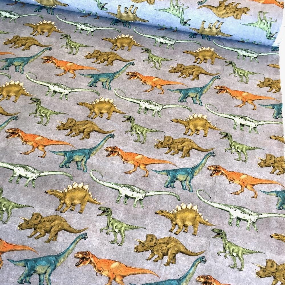 Dino Walkies Grey Jersey Print Fabric by Various