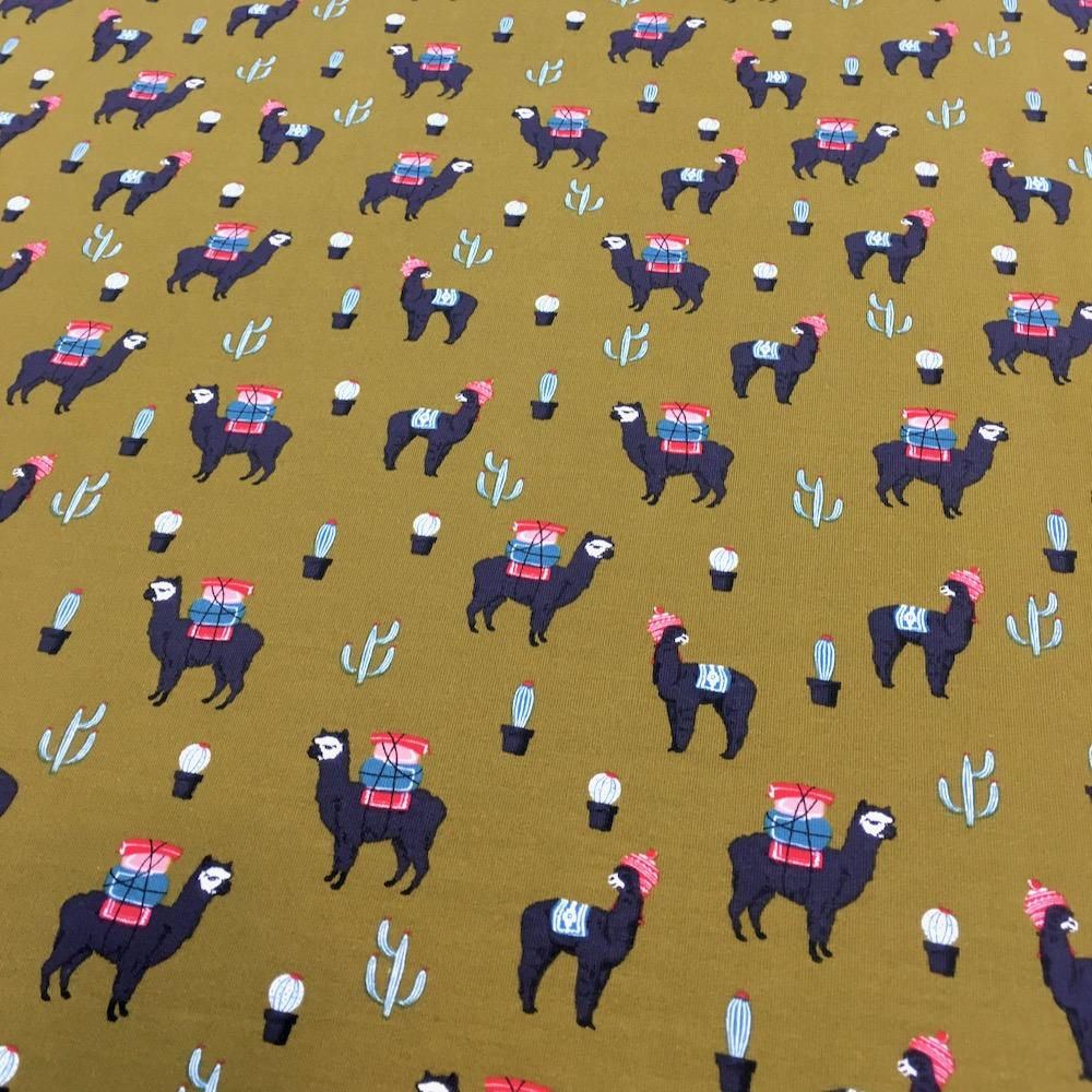 Llama Journey Sweater Jersey Fabric by Various