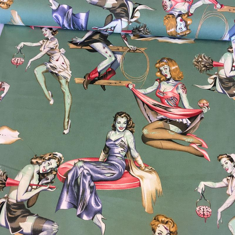 Beauties And Brains Green Fabric by Alexander Henry