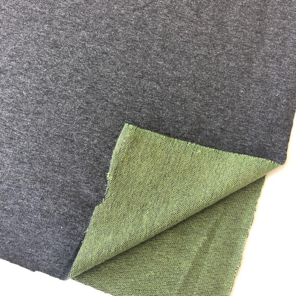 Two Tone Loop Back in Dark Grey and Green Fabric by Various