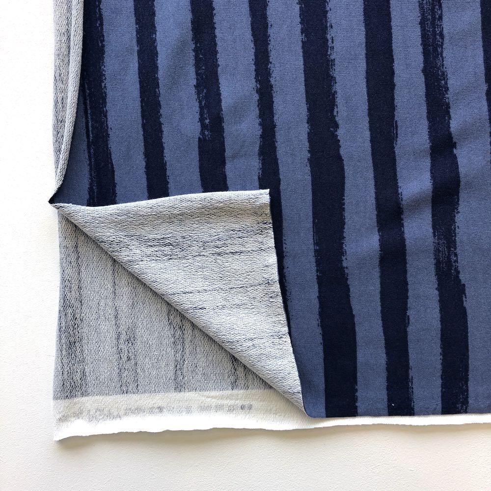 Groovy Stripes Loop Back Terry in Navy Fabric by Various