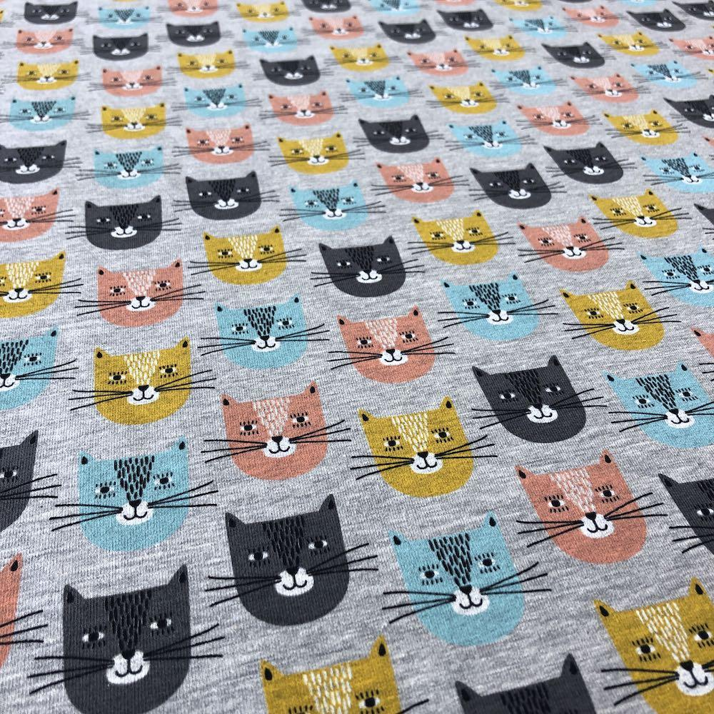 Smiley Cats Loop Back in Grey Fabric by Various