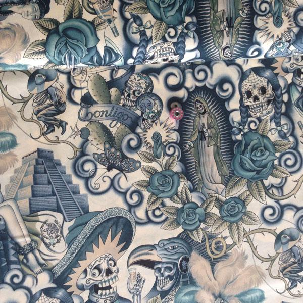 Contigo Tattoo Blue - Frumble Fabrics