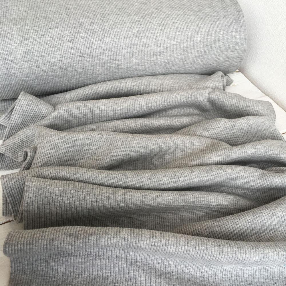 Ribbing Light Grey Marl Fabric by Various