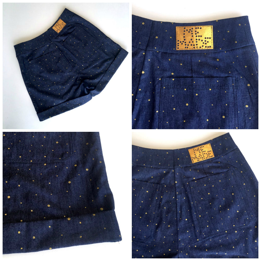 Gold Glitter Dot Cotton Chambray Denim Blue - Frumble Fabrics