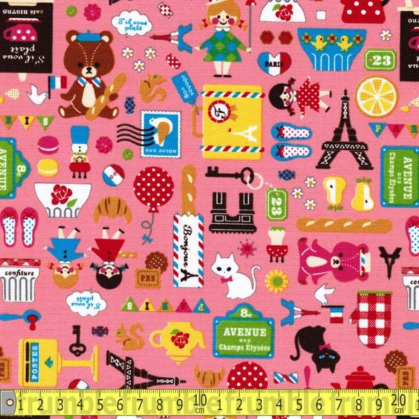 Teddy Goes To Paris Pink Fabric by Japanese