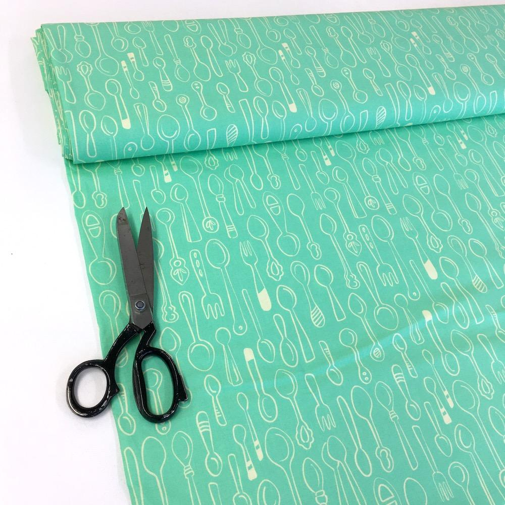 Kitchen Spoons - Hamburger Liebe Organic Cotton Poplin - Mint Green Sewing and Dressmaking Fabric