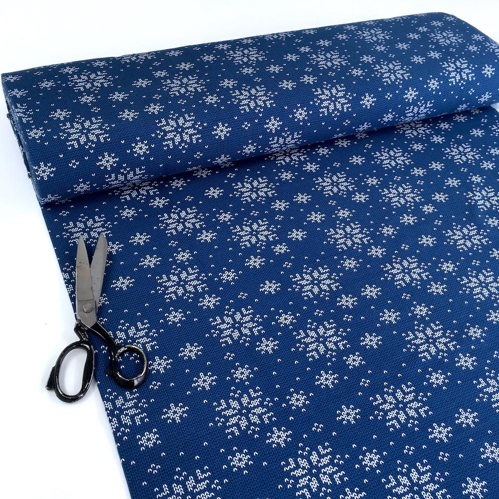 Knit and Purl Christmas Snowflake - Brushed French Terry - Blue Sewing and Dressmaking Fabric