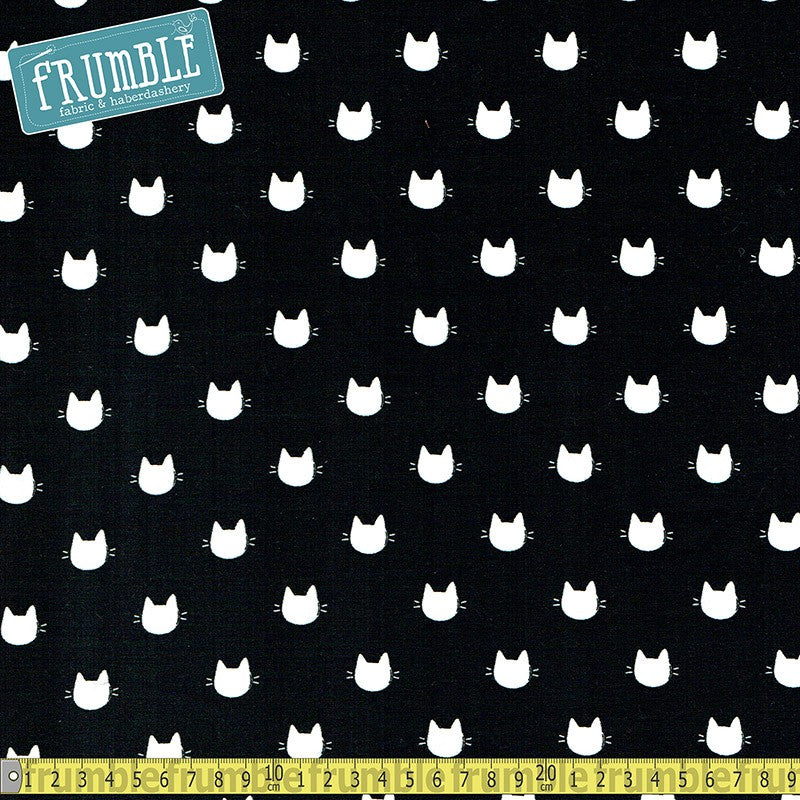 Knit Meow Kitty Dots Black - Frumble Fabrics