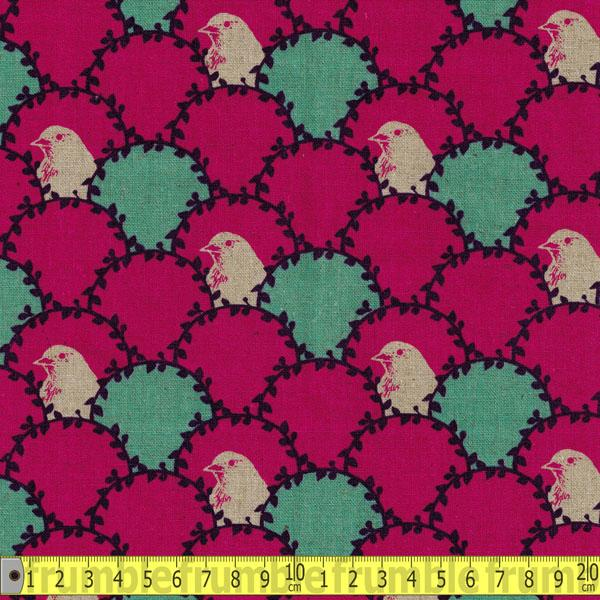 10th Anniversary Arc Bird Cerise Fabric by Kokka