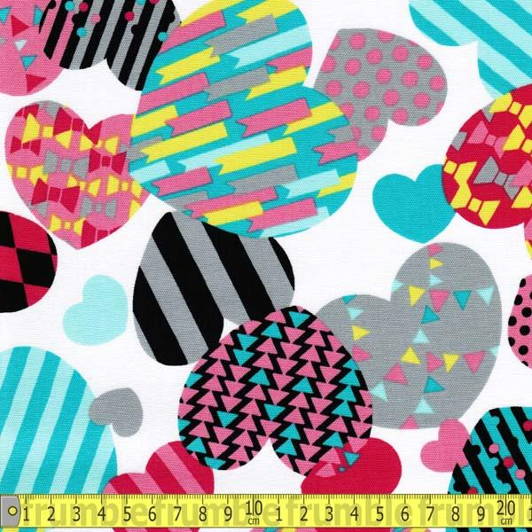 80s Pop Hearts White - Frumble Fabrics