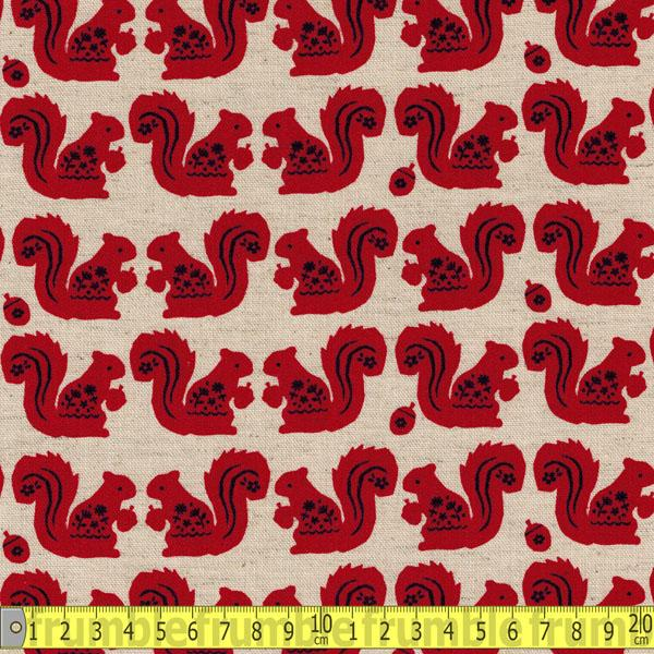 Acorn Squirrel Red Fabric by Kokka