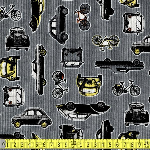 Classic Cars & Bicycles Grey Fabric by Kokka