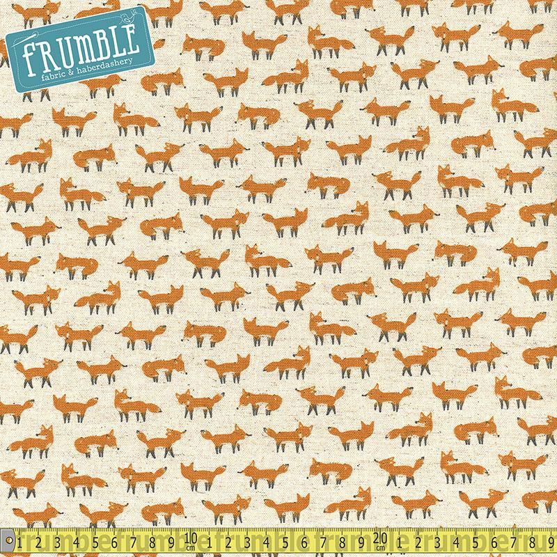 Cotton/Linen Animal World Foxes Natural Fabric by Kokka
