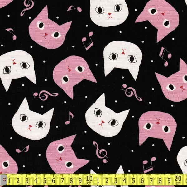 Disco Cat Black Fabric by Japanese