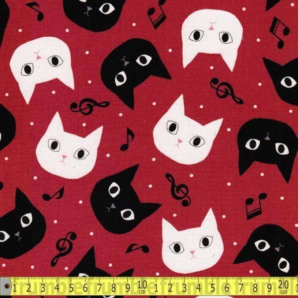 Disco Cat Red Fabric by Japanese