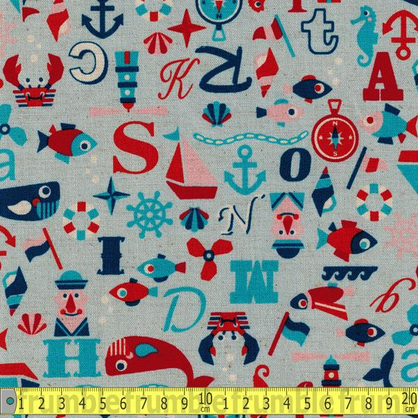 Nautical Alphabet Blue Fabric by Kokka