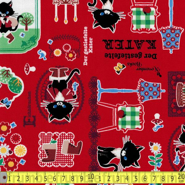 Push Pin Puss in Boots Red Fabric by Kokka