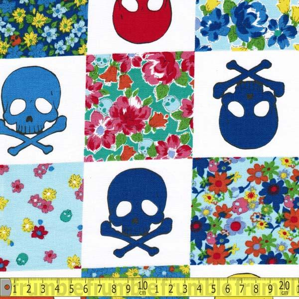 Quilt Skulls Blue Fabric by Japanese