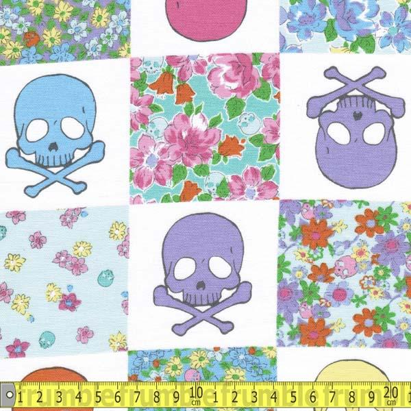 Quilt Skulls Pastel Fabric by Japanese