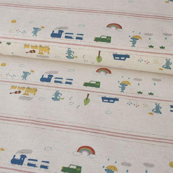 Puti De Pome - Rainbow Cars & Trains Natural Fabric by Kokka