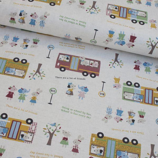School Bus Trip Natural Fabric by Kokka