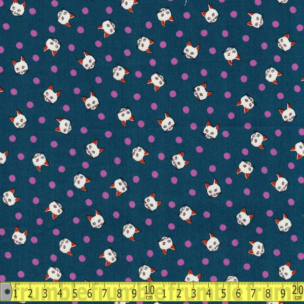 Trefle Spotty Cats Blue Cotton Sateen Fabric by Kokka