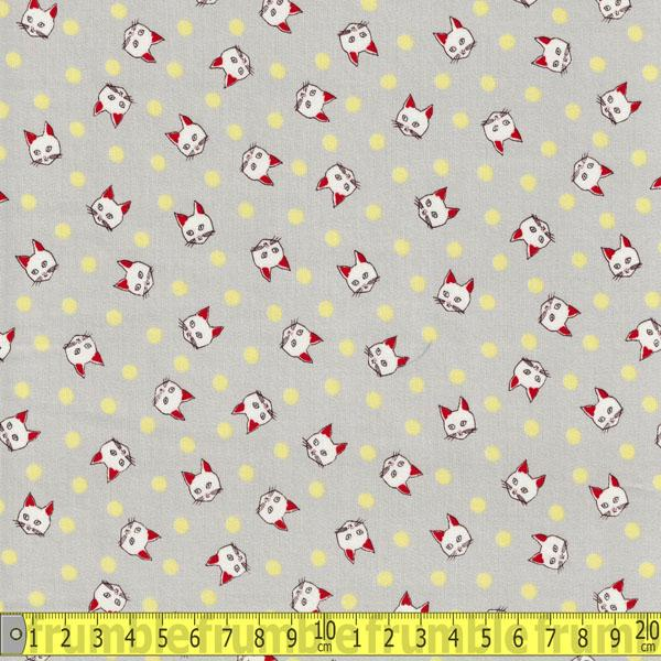 Trefle Spotty Cats Grey Cotton Sateen Fabric by Kokka
