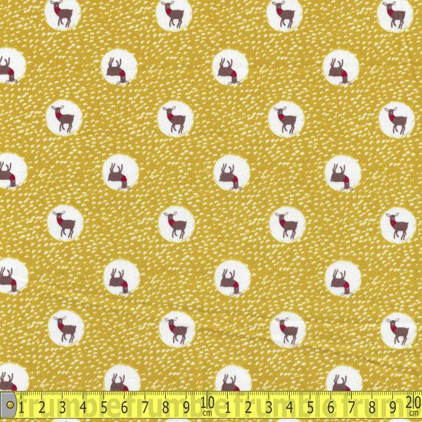 Trefle Spotty Deer Mustard Cotton Sateen - Frumble Fabrics
