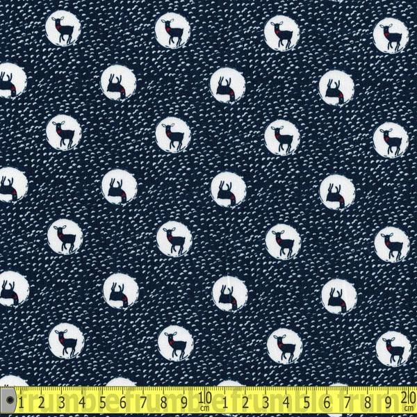 Trefle Spotty Deer Navy Cotton Sateen Fabric by Kokka