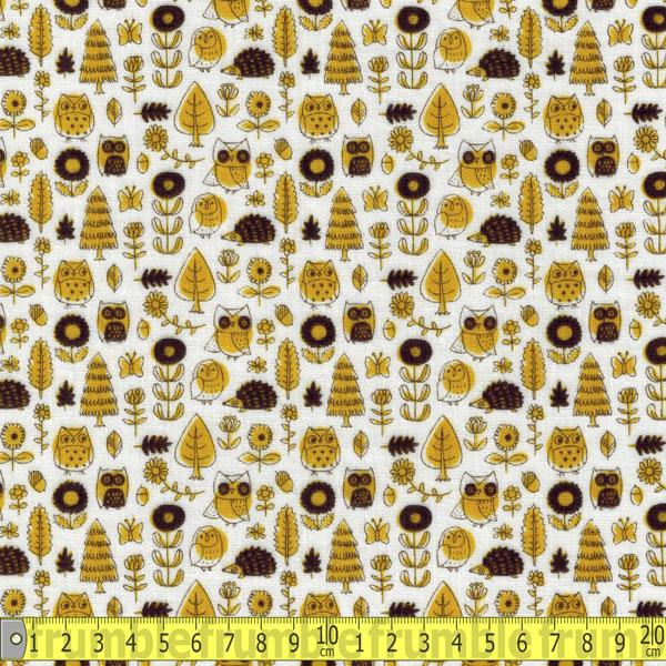 Trefle Woodland Wildlife Yellow Double Gauze Fabric by Kokka