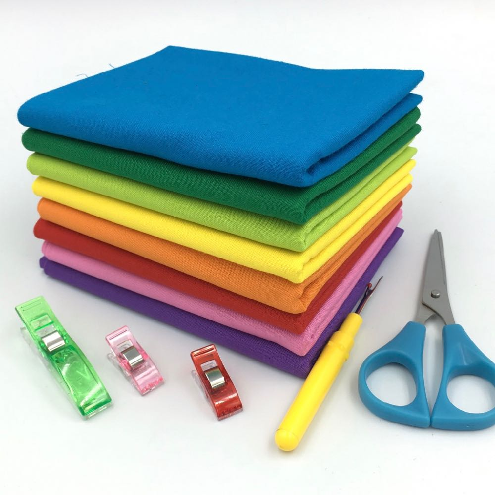 Rainbow Bright Kona FQ Bundle - Frumble Fabrics