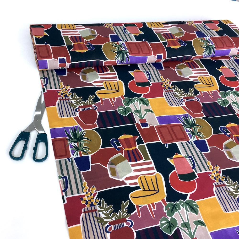 Retro Lifestyle Cotton Lawn Fabric Multi Fabric by Lady McElroy