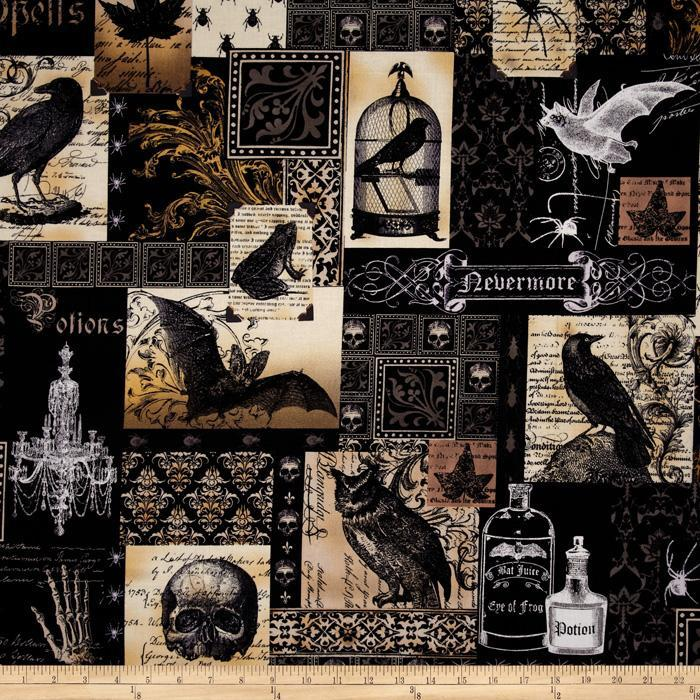Nevermore Collage Black Fabric by Michael Miller