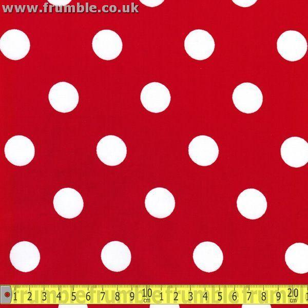 Large 20mm Polka Dot Red (Per Metre) - Frumble Fabrics