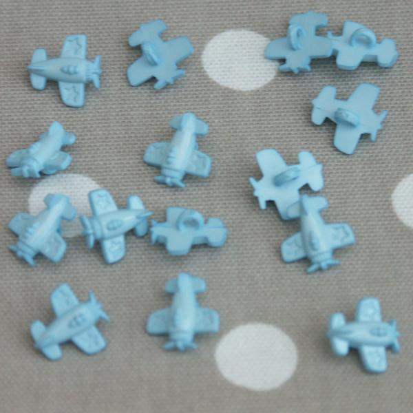 Aeroplane Sewing Buttons - Light Blue 10 pack