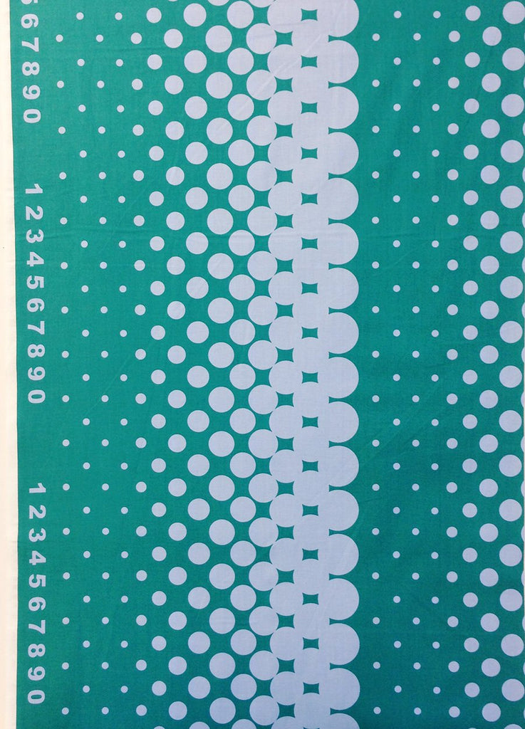 First Of Infinity Border Dot Teal Fabric by Lecien