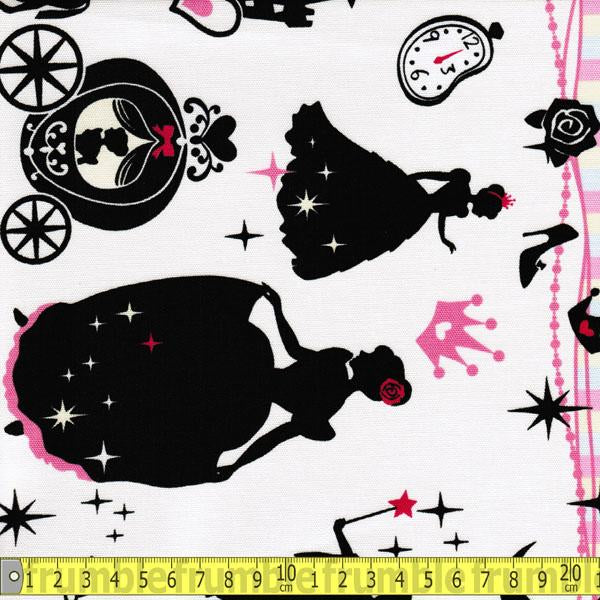 Girls Story Cinderella Border Pink Fabric by Lecien