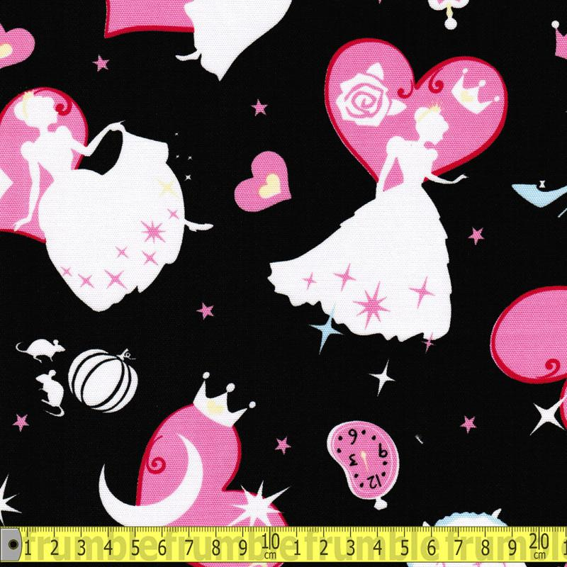 Girls Story Cinderella Scatter Black - Frumble Fabrics