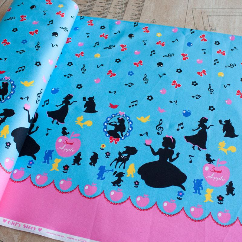 Girls Story Snow White Border Turquoise Fabric by Lecien