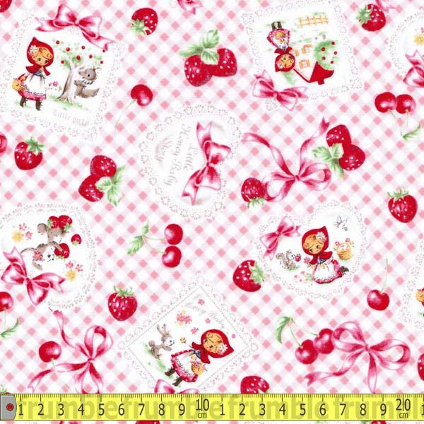 Little Red Riding Hood Gingham Baby Pink Fabric by Lecien