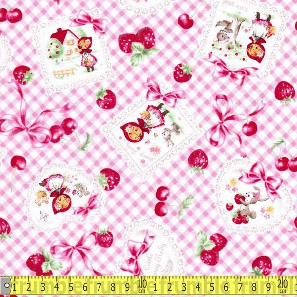 Little Red Riding Hood Gingham Candy Pink Fabric by Lecien