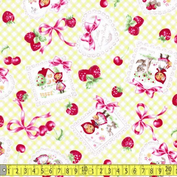 Little Red Riding Hood Gingham Yellow/Lime Fabric by Lecien