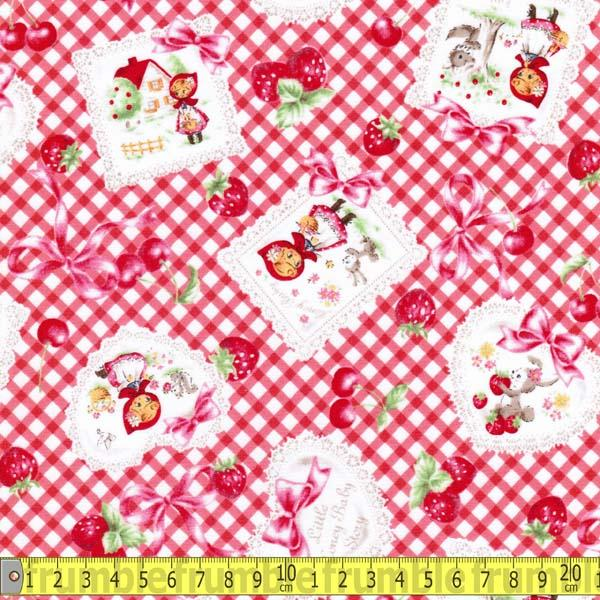 Little Red Riding Hood Gingham Red Fabric by Lecien