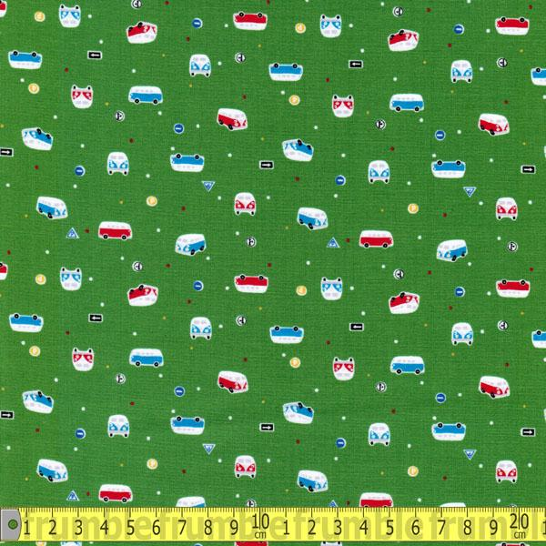 Minny Muu Campers Green Fabric by Lecien